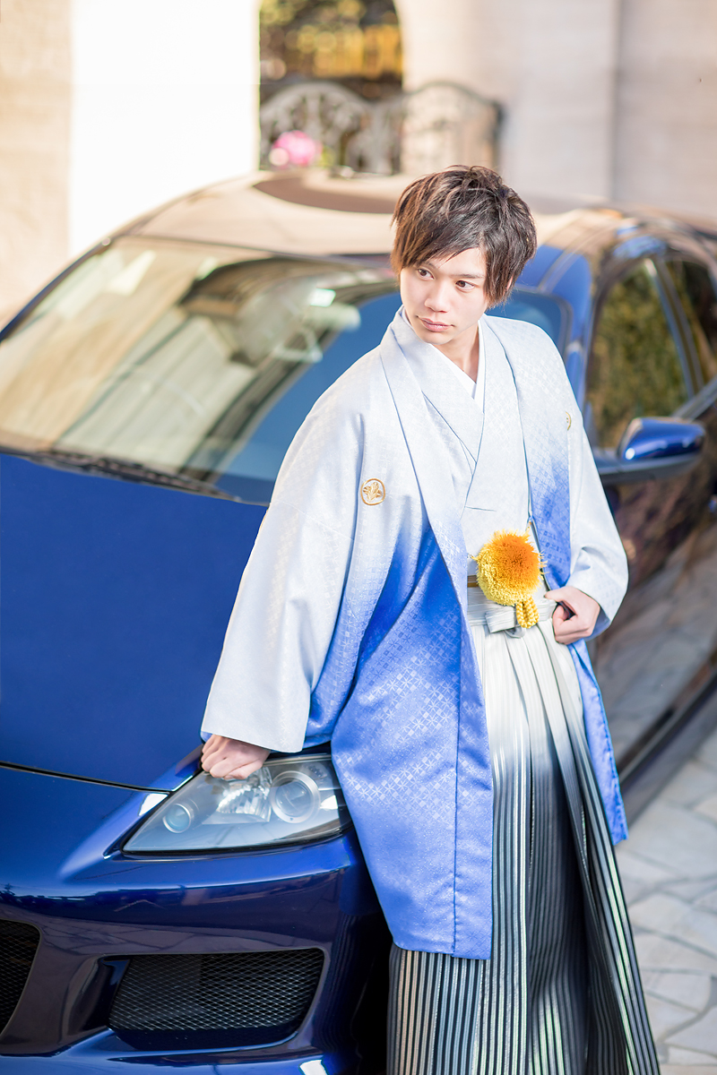成人,成人男性,紋服,着物,車