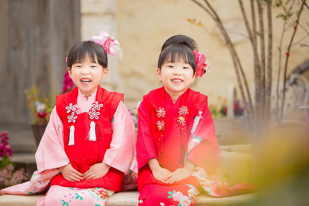 七五三,着物,3歳,双子,姉妹