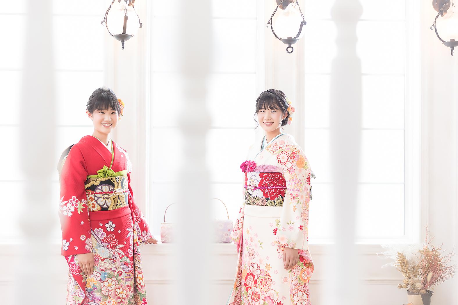 美人姉妹 双子 成人振袖