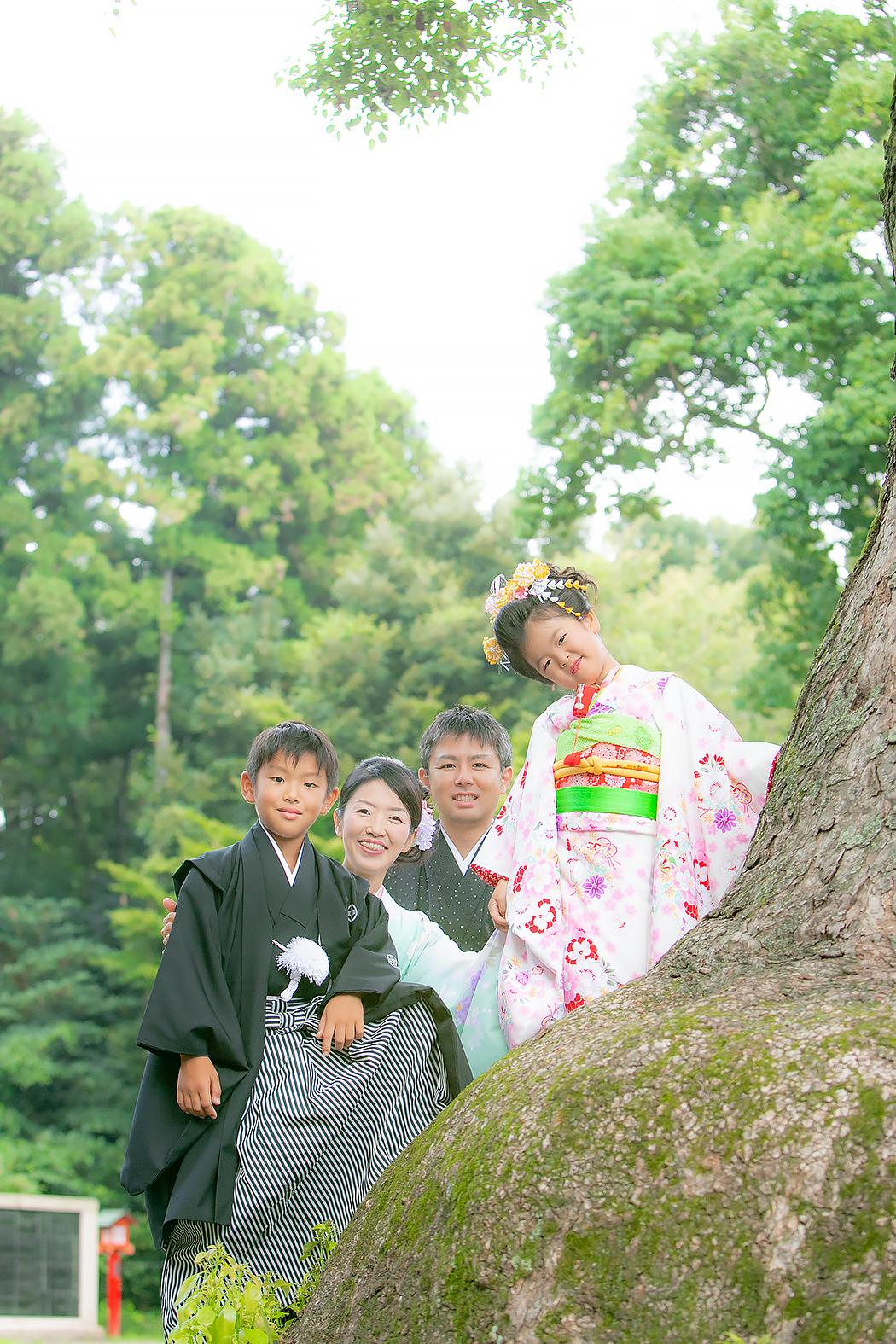 七五三,7歳,着物,神社ロケ,家族撮影