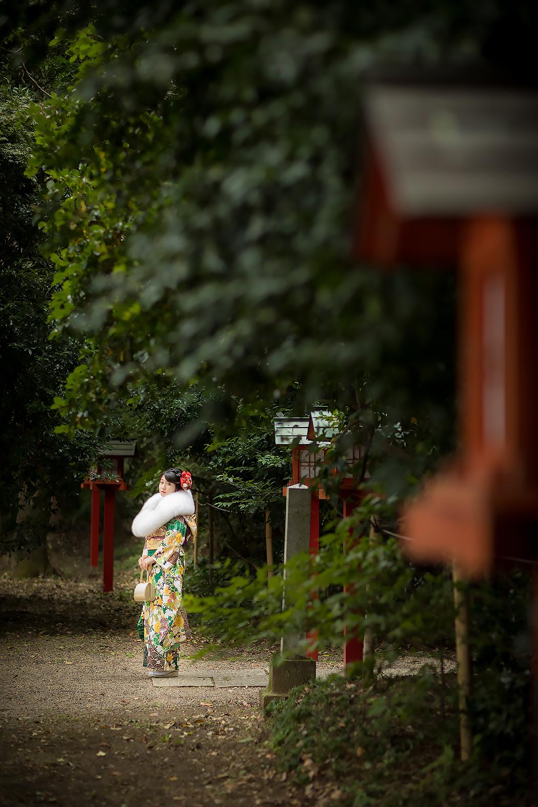 成人振袖,前撮り,神社ロケ