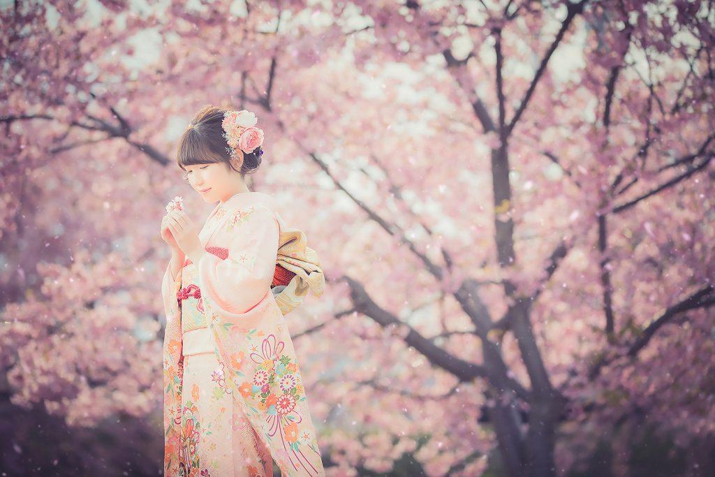 成人振袖,振袖,20歳,桜ロケ